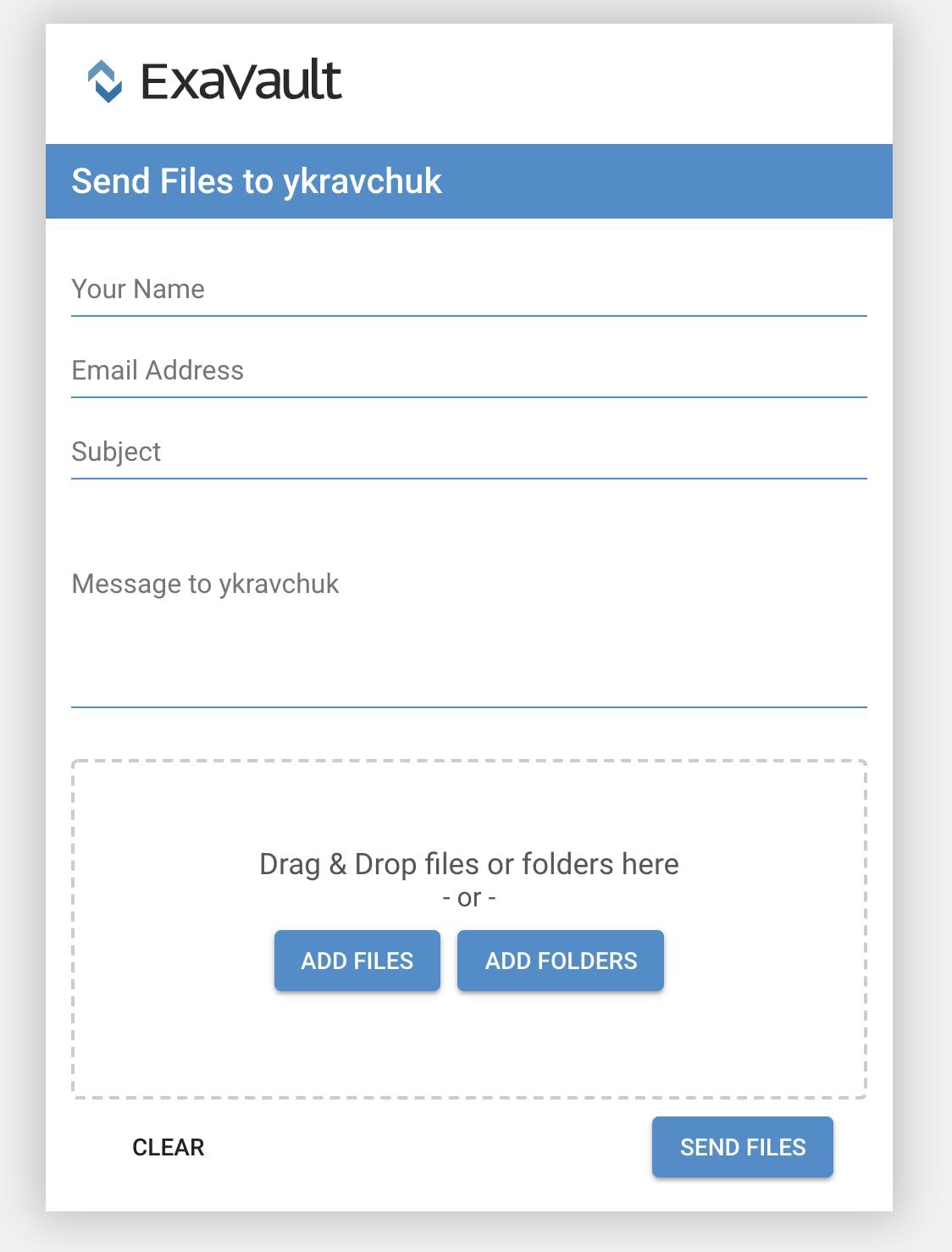 Basic ExaVault upload form.