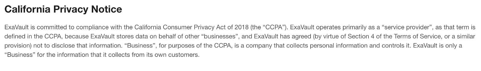 ExaVault CCPA notice.