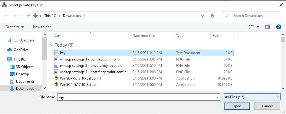 Select private key file to import SSH key in WinSCP.