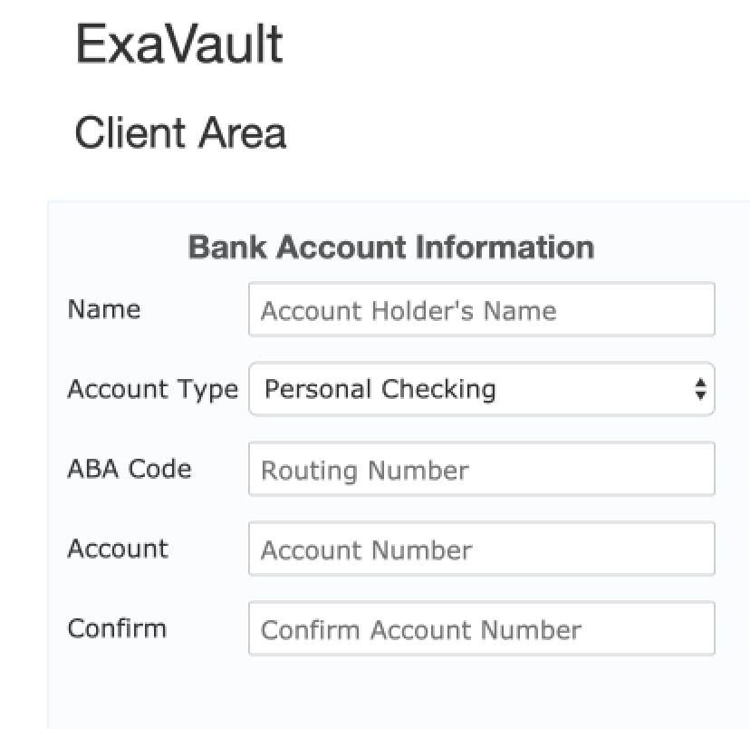 ACH bank transfer setup form.