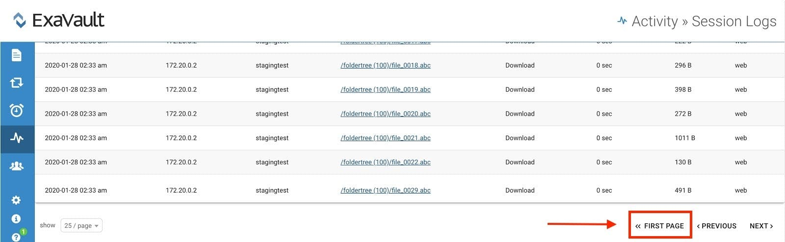 Link directly to first page in the activity logs.