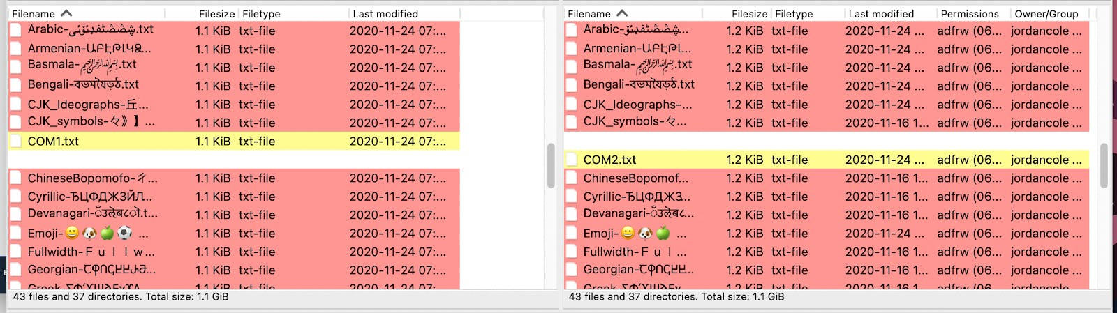 Example of using advanced features in FileZilla.