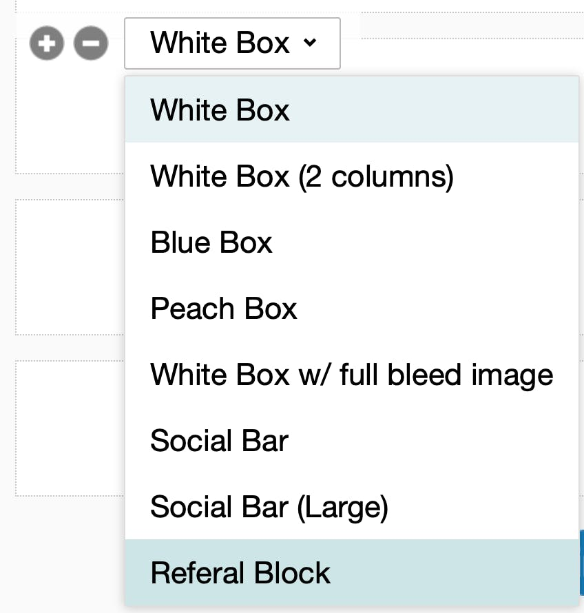 Email newsletter template block options.