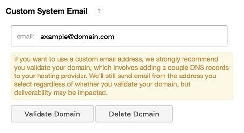 Custom system email setup.