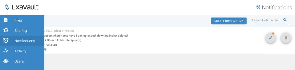 Create notification for file uploads.