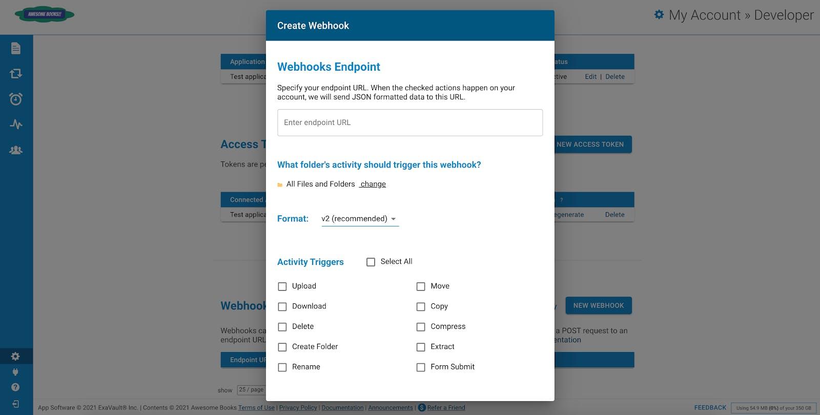 Create new webhook in your ExaVault account.