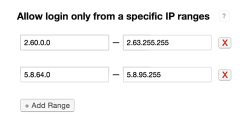 Allow login only from specific IP ranges.