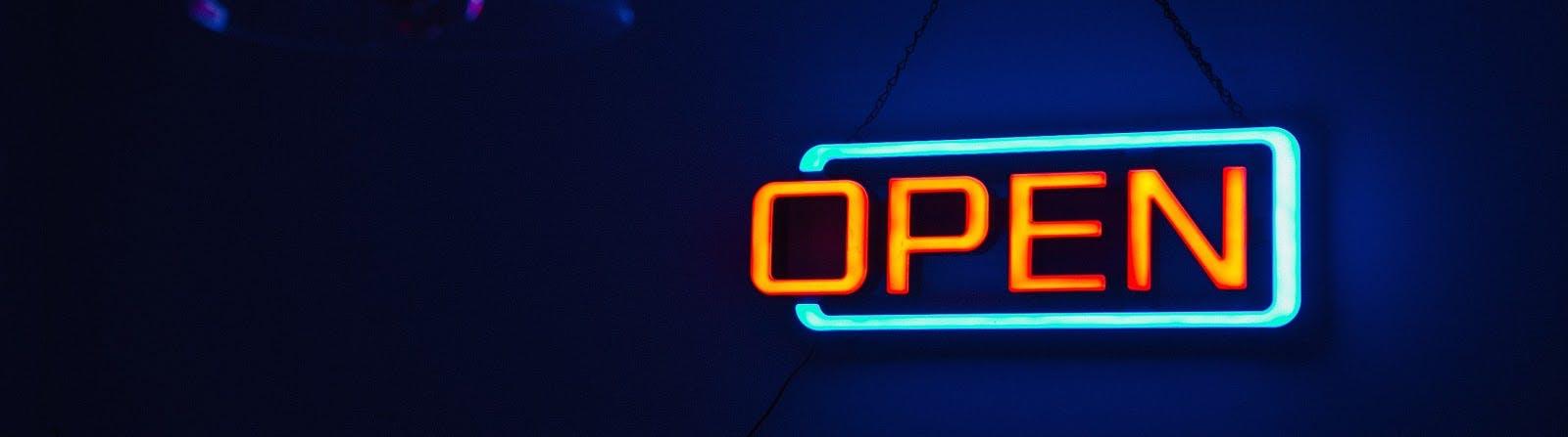 Neon open sign.