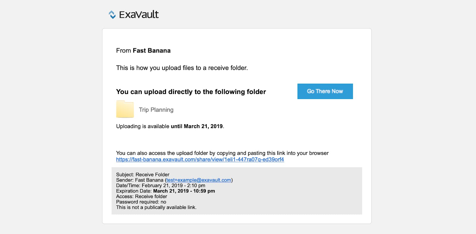 Email invite for customers to upload files to a receive folder in ExaVault.
