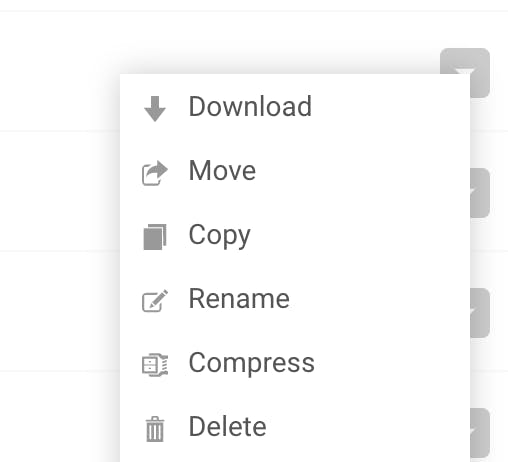 Compress files from the options menu.