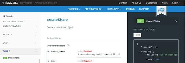 Developer section, ExaVault website.