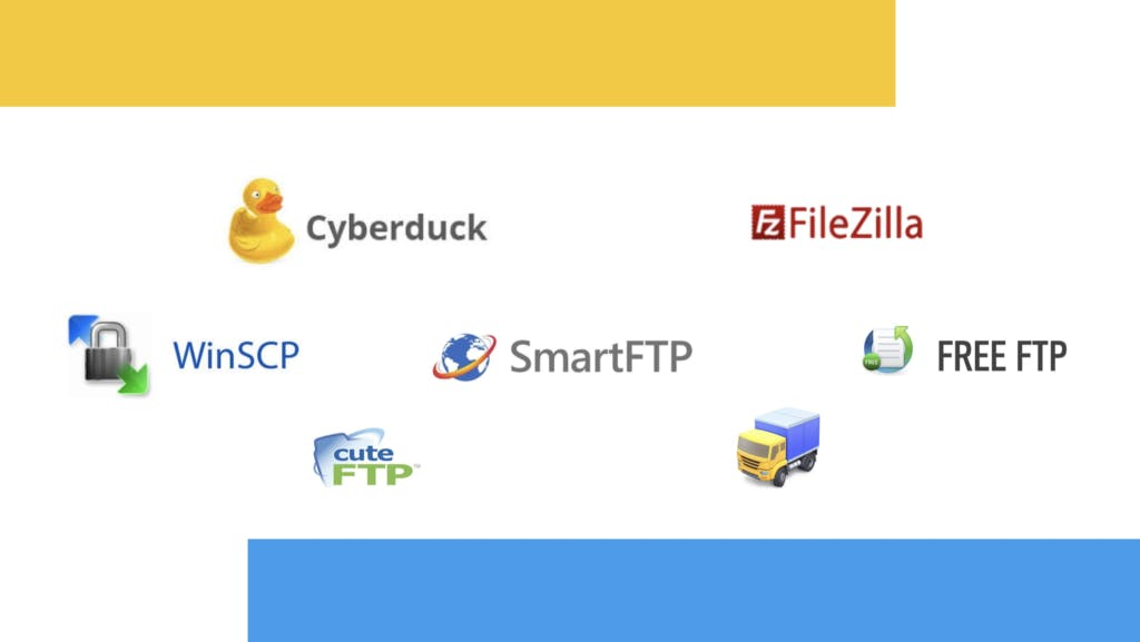 Sample of popular FTP clients and logos.