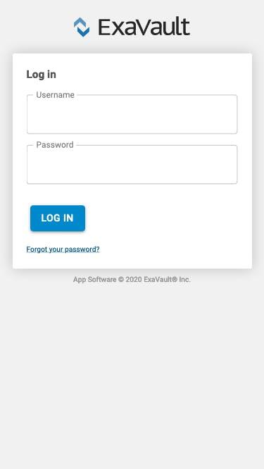 Mobile login screen.
