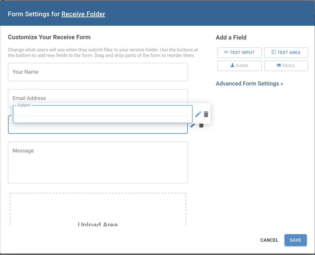 Shows drag and drop form builder feature.