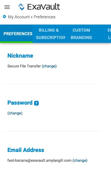 Managing account preferences on mobile device.