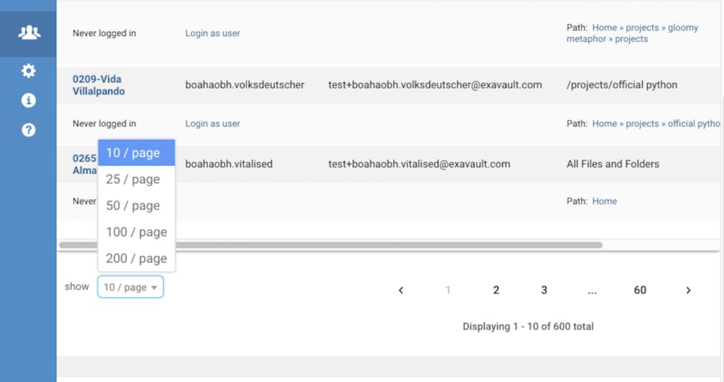 Updated pagination feature in users interface.