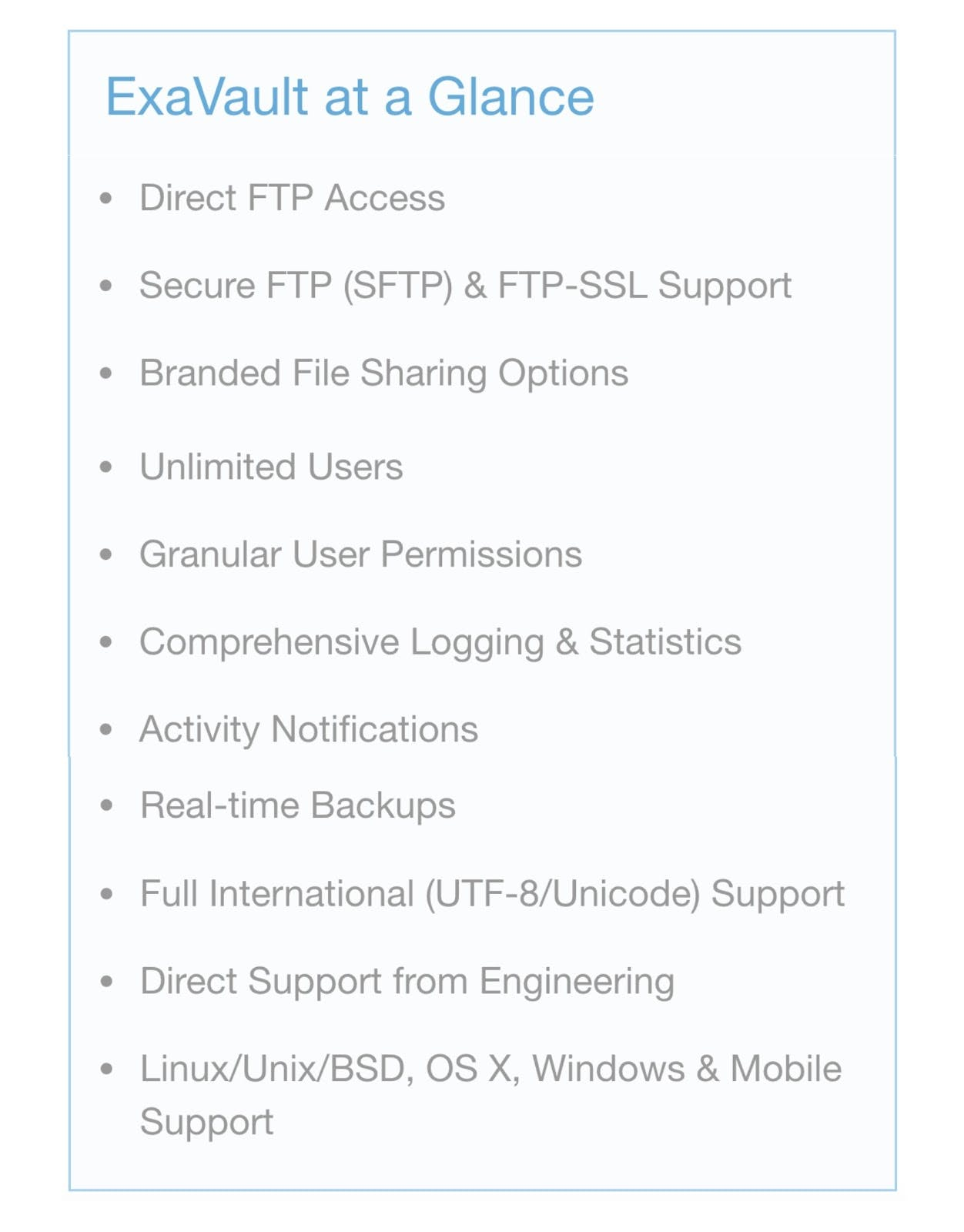 List of available FTP service features.