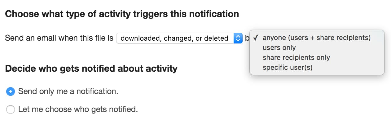 Set up notifications to be alerted when a user does an action.