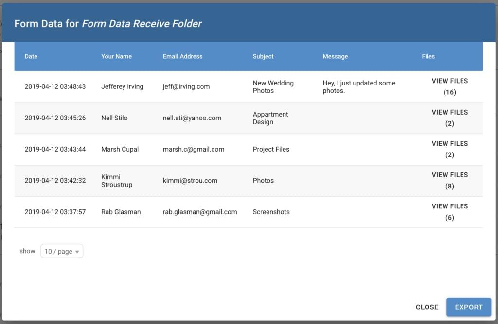Form data display sample.