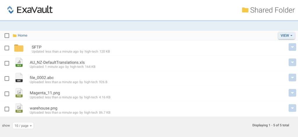 Shared folder view in file management application.