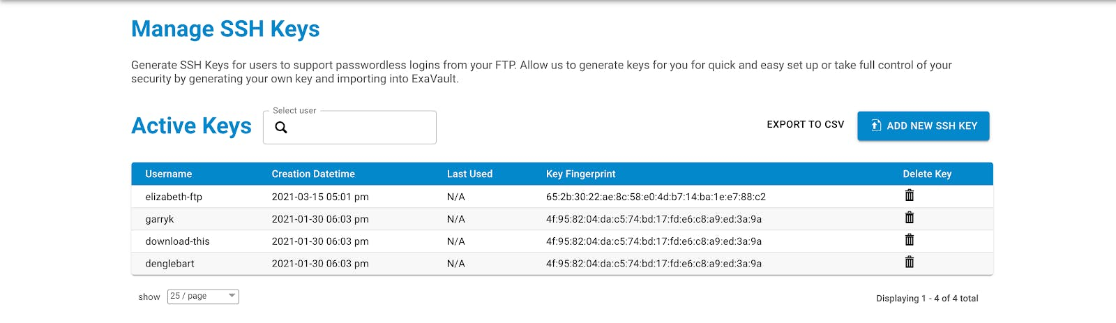 Manage SSH keys for secure file transfer.