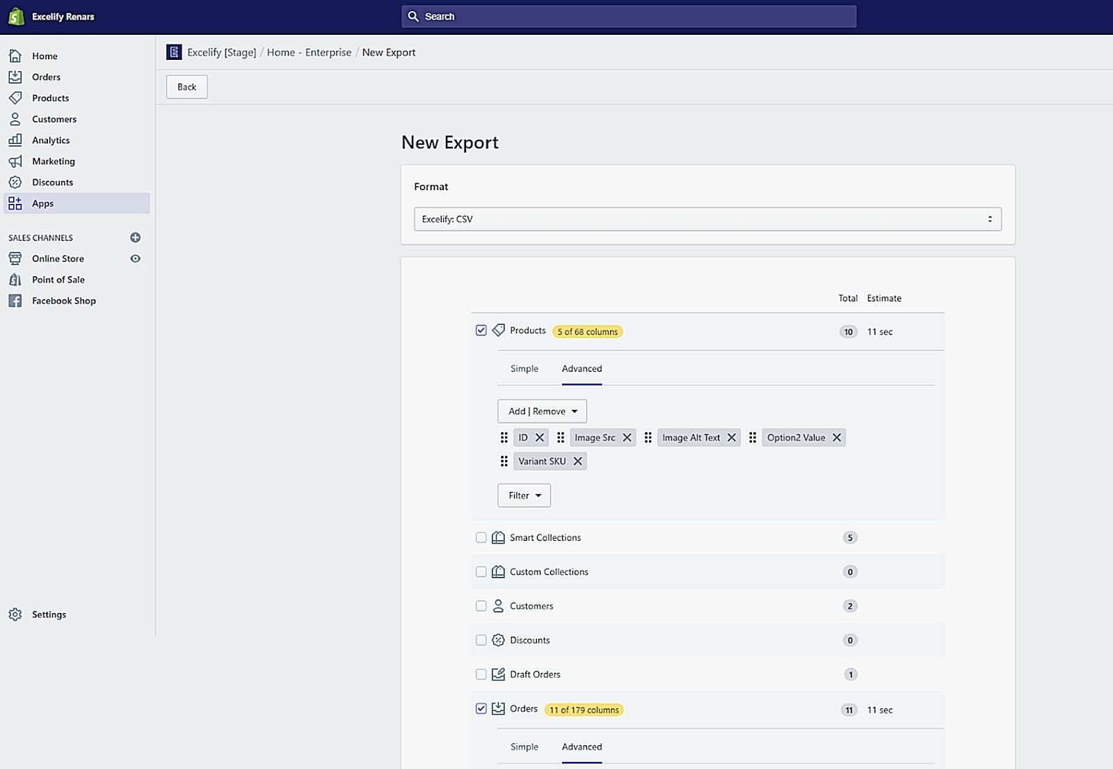 Excelify New Export panel.