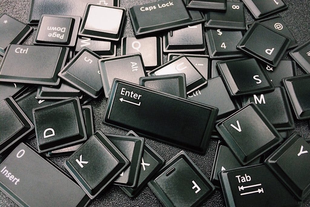 Black computer keyboard keys.