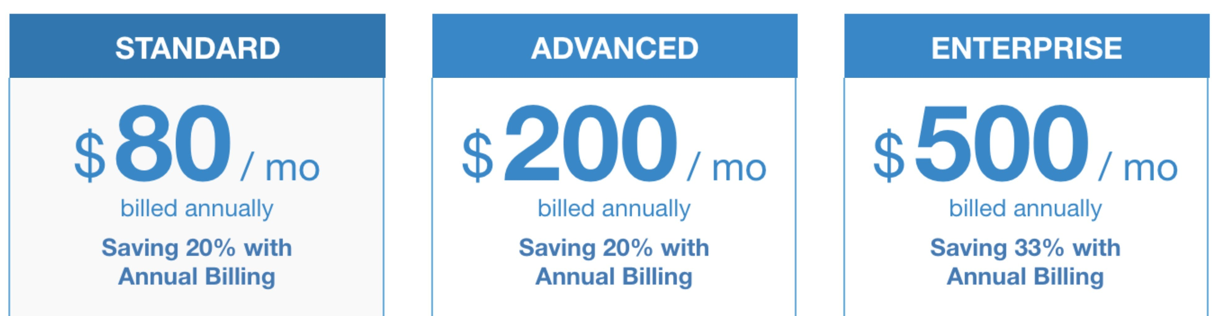 ExaVault pricing with annual billing discount.