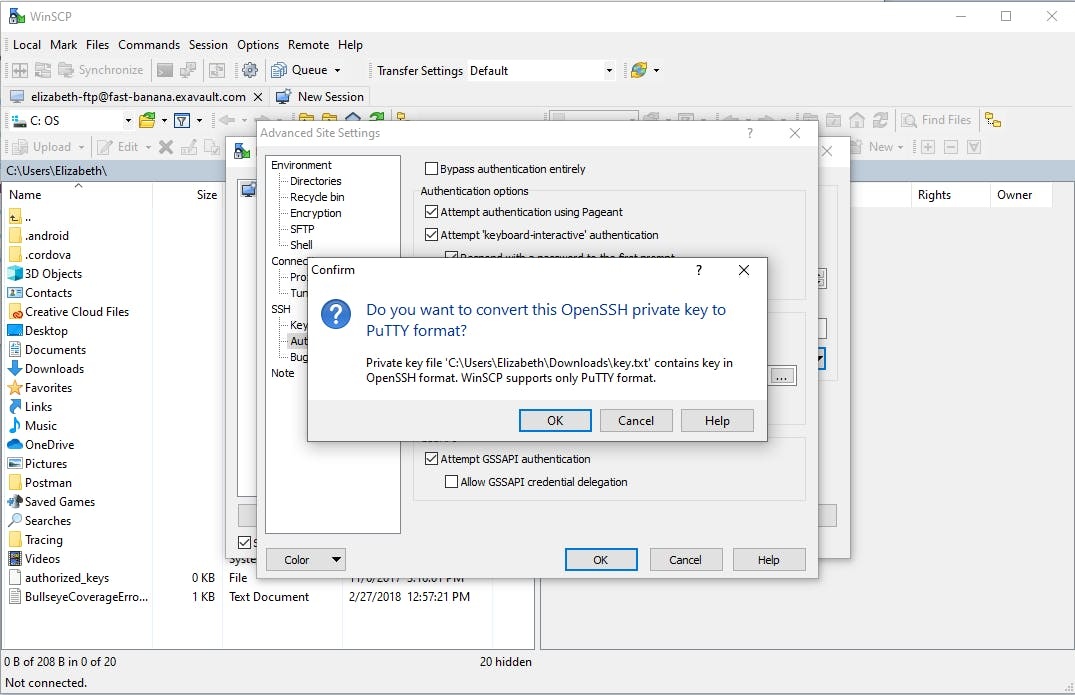 Convert SSH key to PuTTY format in WinSCP.