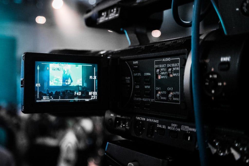 Professional video camera filming.