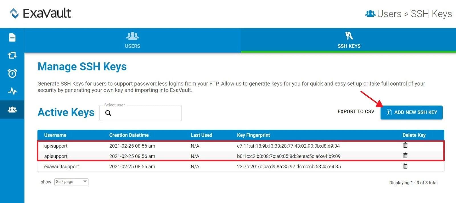 ExaVault SSH key management interface.