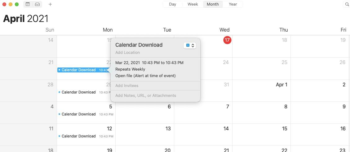 Saved calendar alarm.