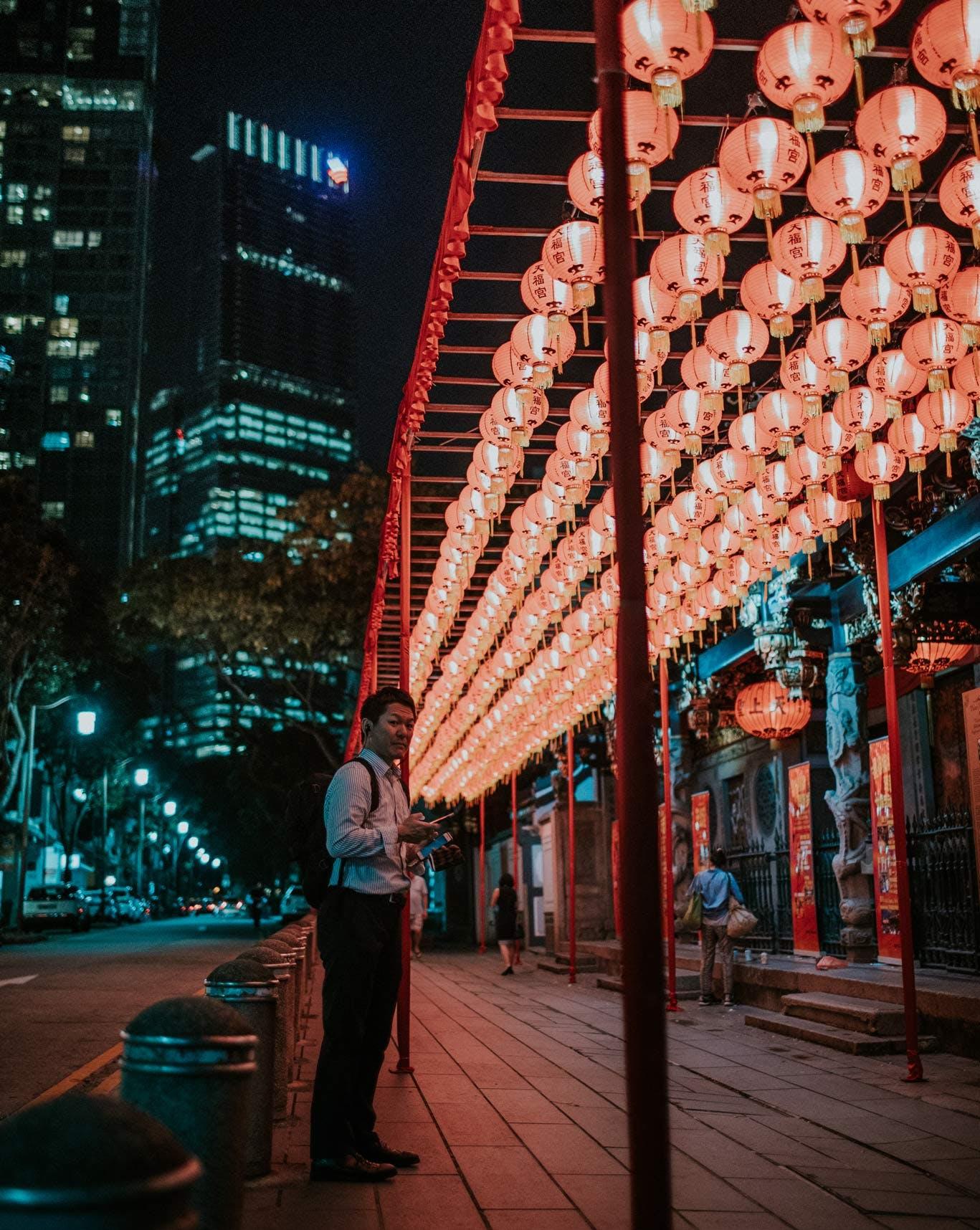 Thian Hock Keng Temple Lanterns & Gucco Tower