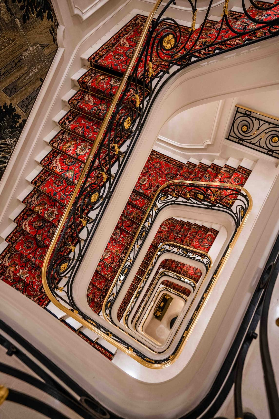 Red Staircase Look Down in Hôtel Ritz Paris