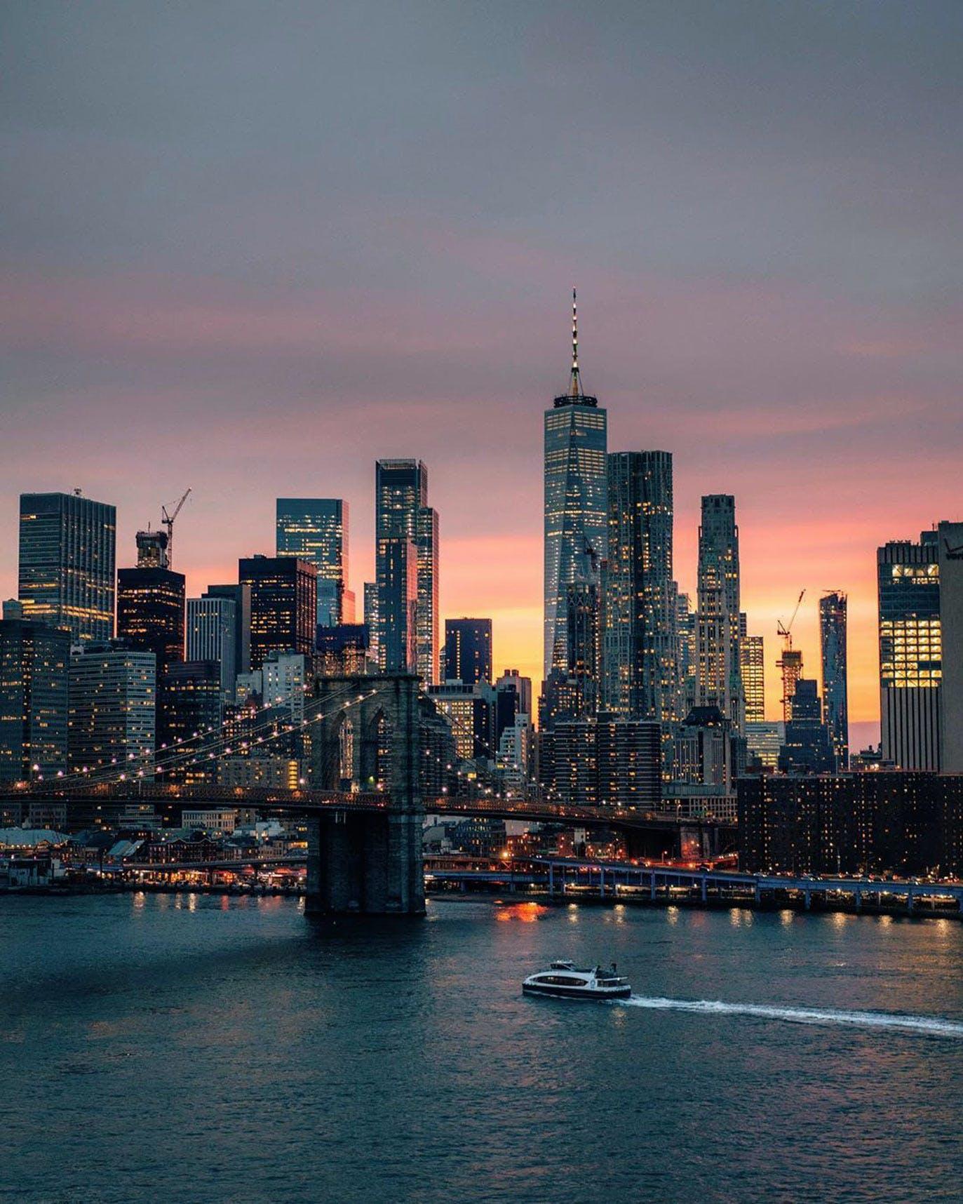 Manhattan Bridge view of East River, Brooklyn Bridge & One World Trade Center (Freedom Tower)