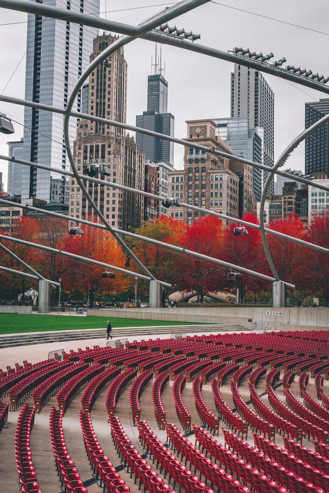 Jay Pritzker Pavilion view of Millennium Park & Willis Tower