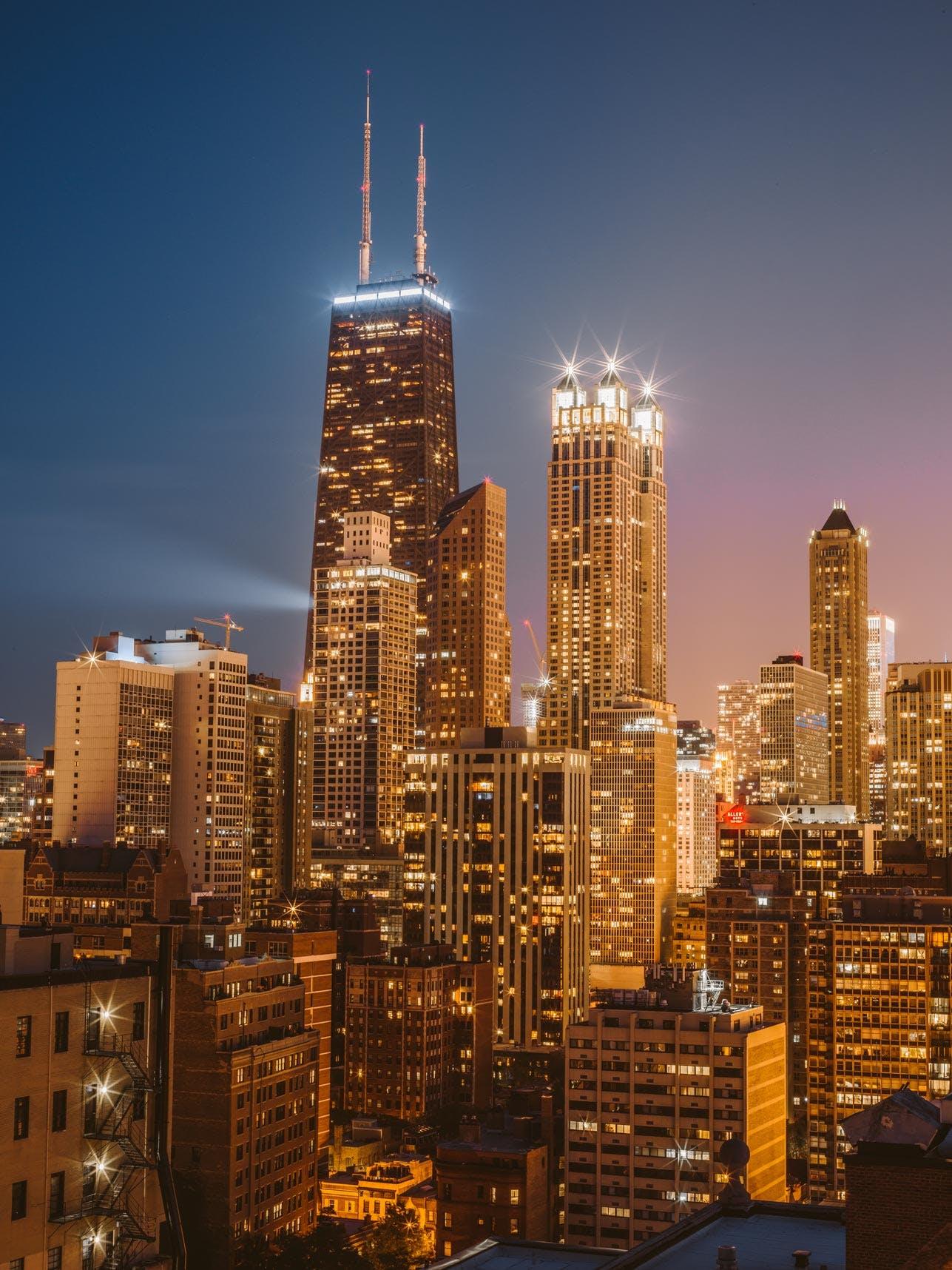 Hancock Building & Chicago Skyline from Ambassador House Condominium