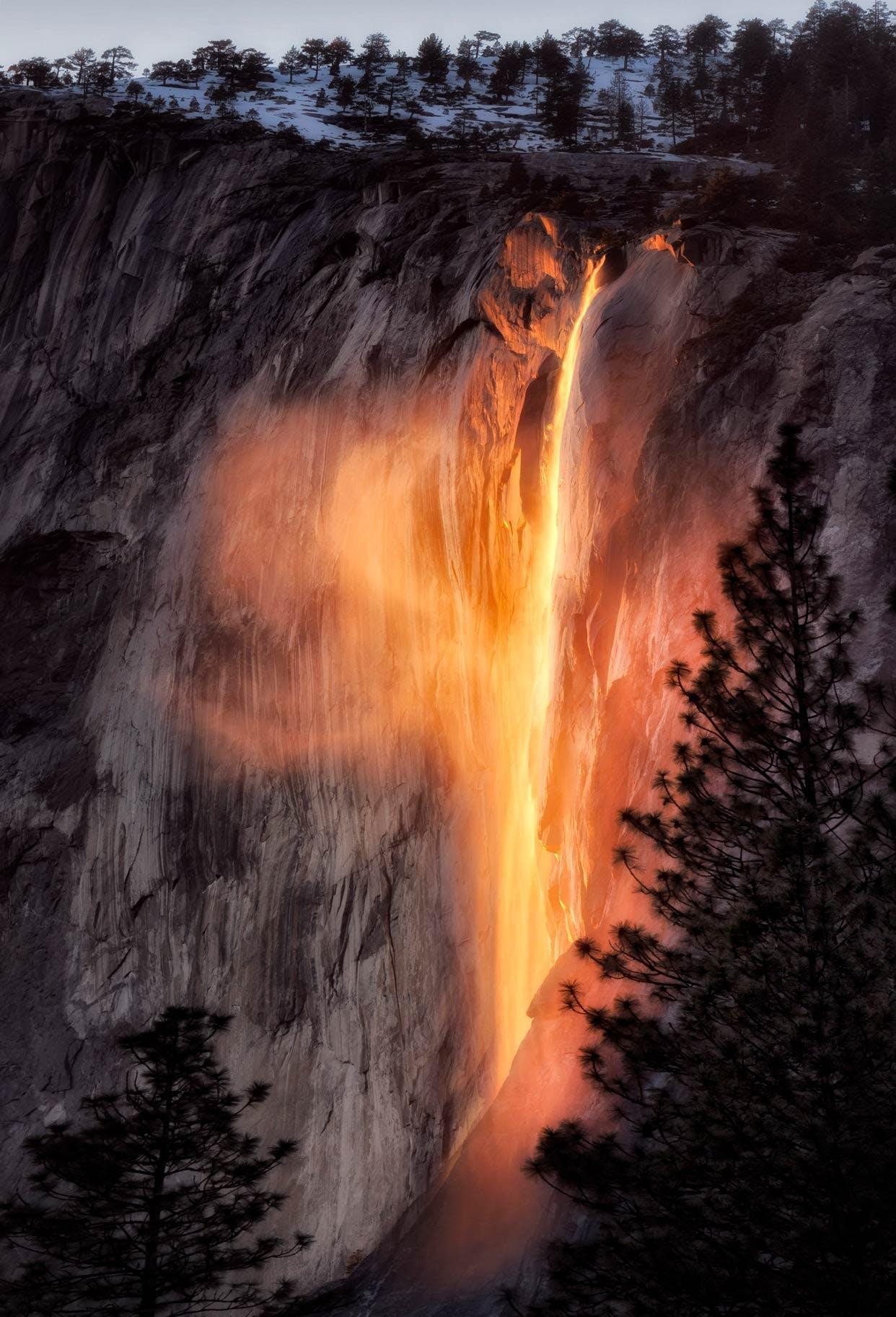 Merced Riverbank view of Horsetail Falls (Firefalls)
