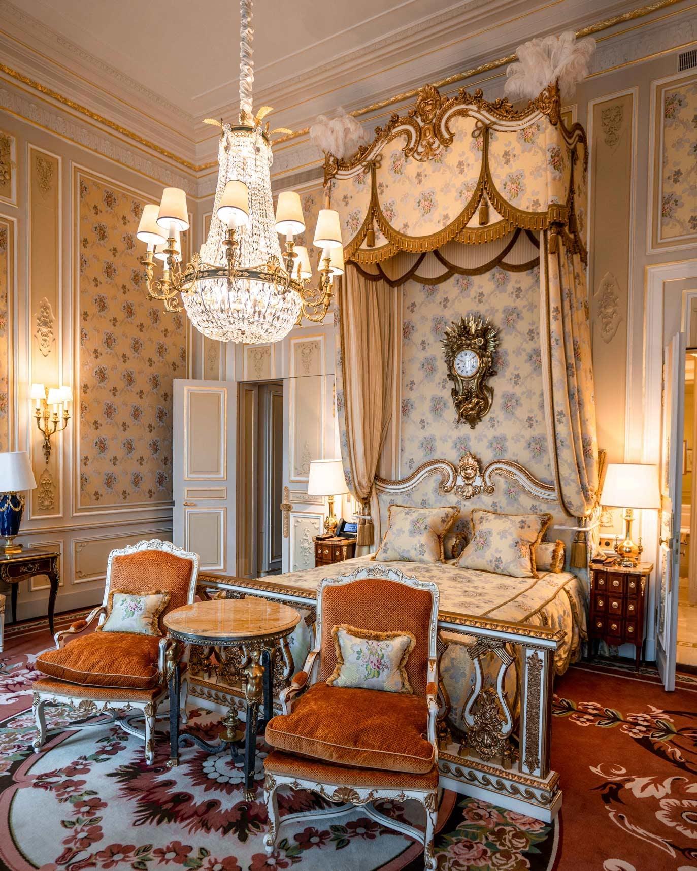 Marie Antoinette Bedroom in the Imperial Suite of Hôtel Ritz