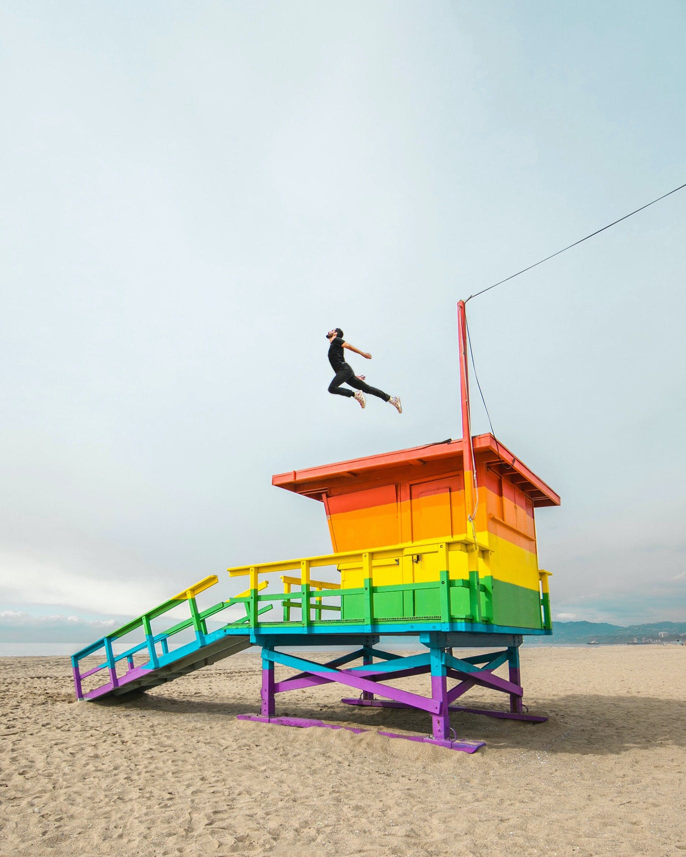 Venice Pride Flag Lifeguard Tower