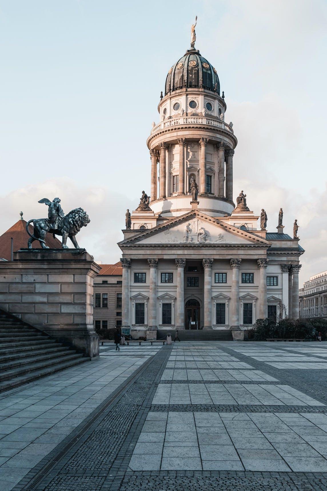 Französischer Dom, Lion Statue, Konzerthaus Steps from Gendarmenmarkt