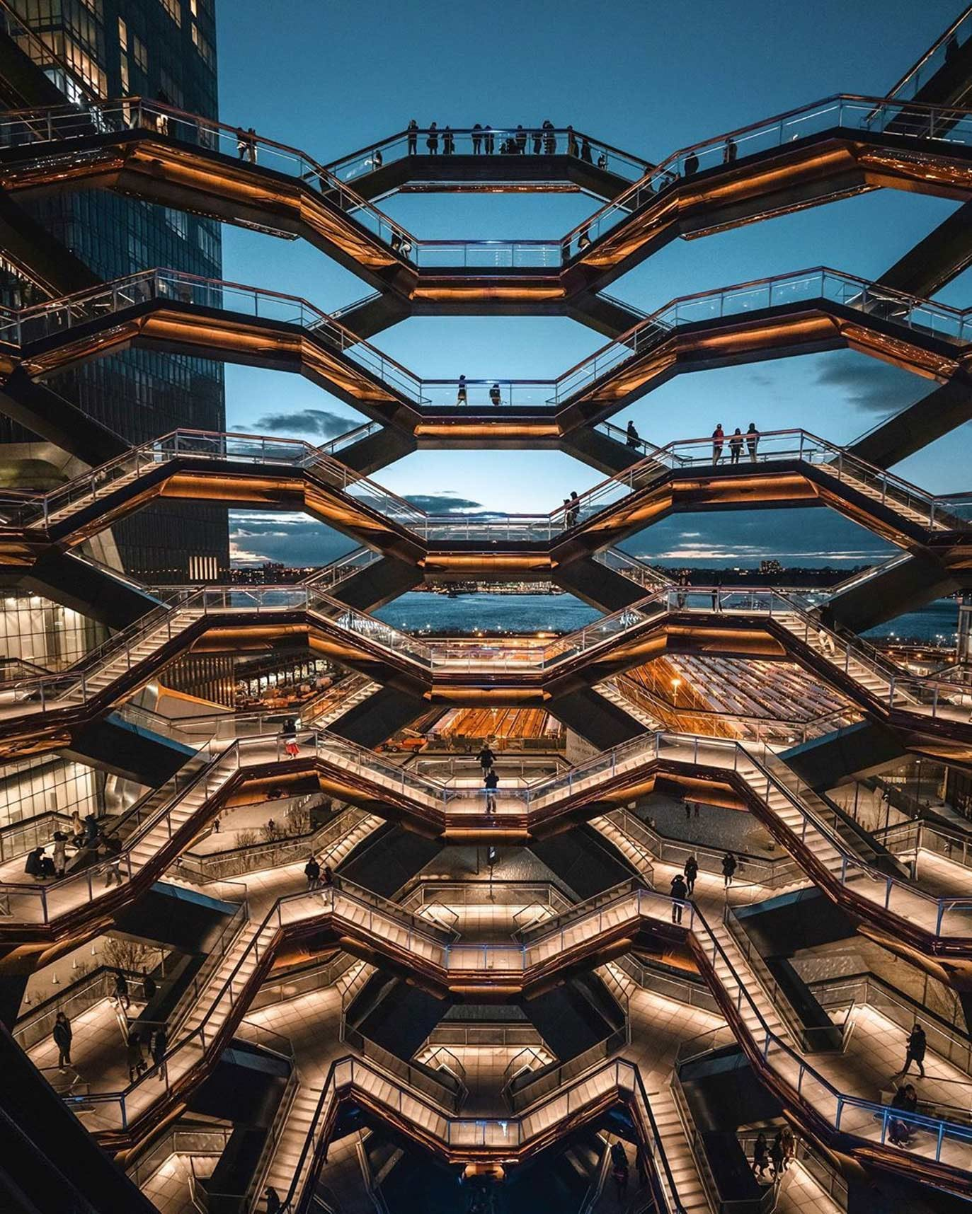 The Vessel Staircase & Hudson River at Hudson Yards
