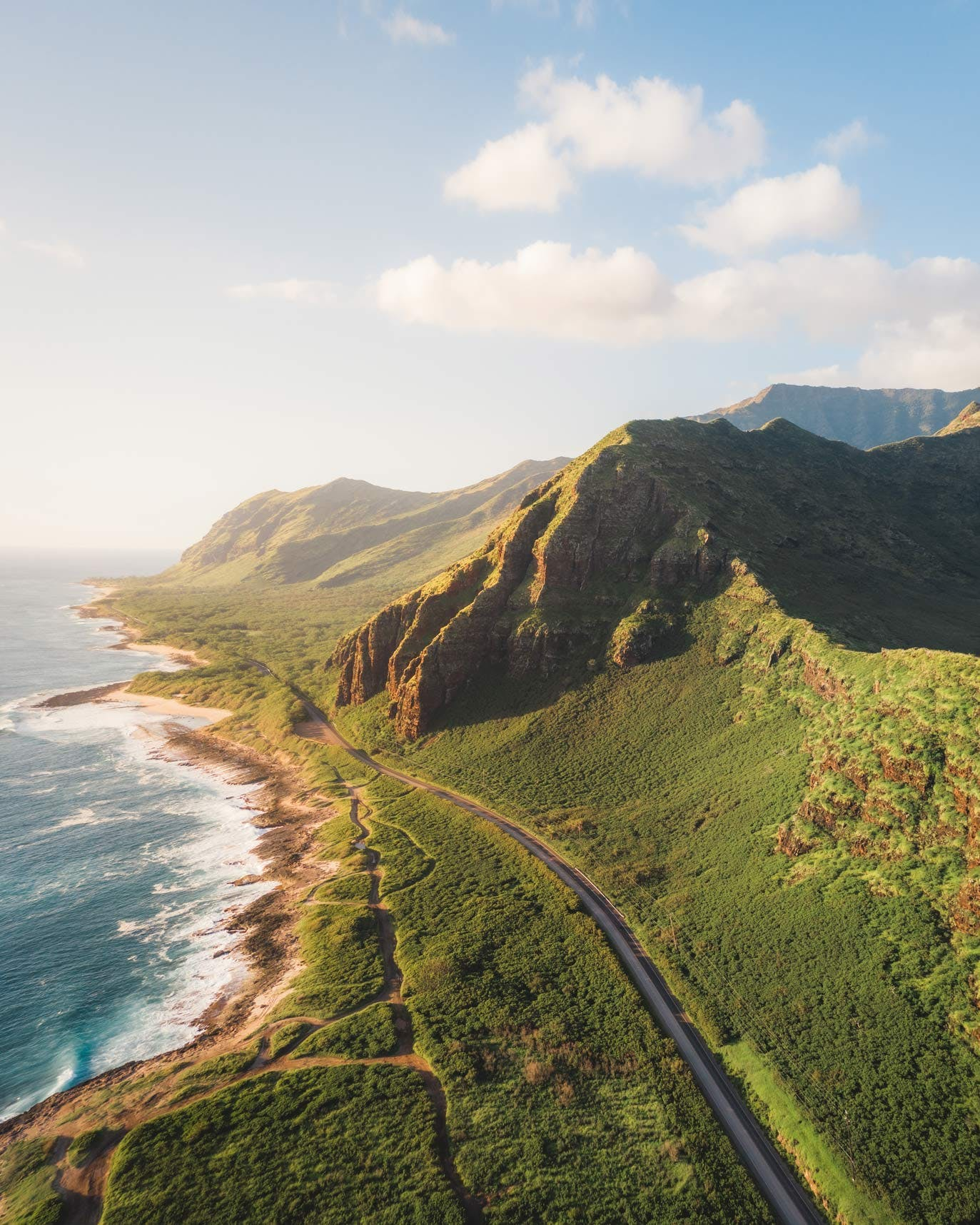 Farrington Highway & Mountains from Mākua Beach Parking Lot