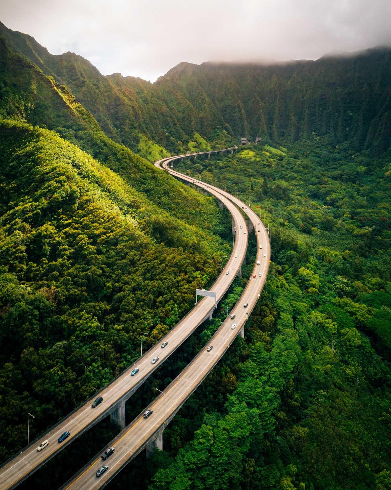 Highway 3, Ko'olau Range Mountains & Kāne'ohe Forest Reserve