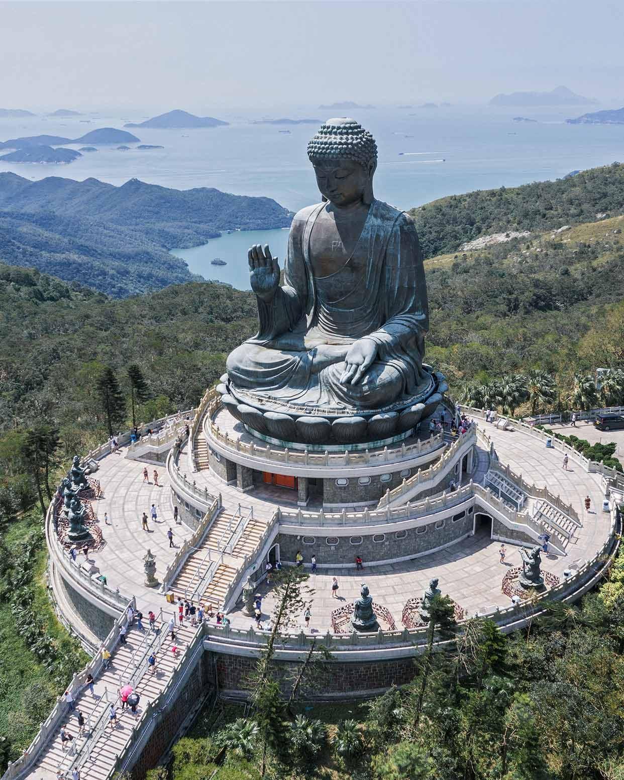 Tin Tan Buddha (Big Buddha) & South China Sea from Ngong Ping Piazza