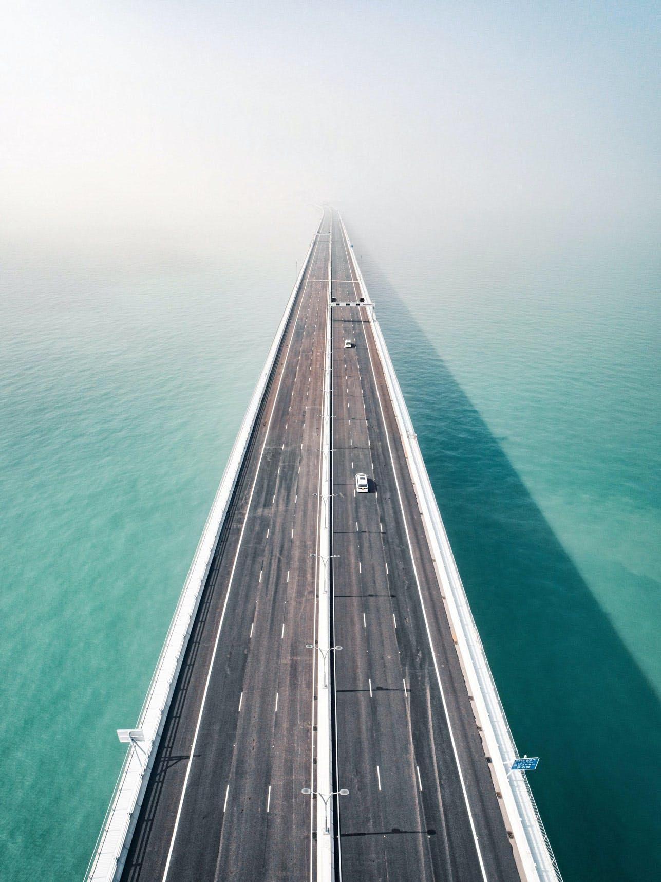 Hong Kong-Zhuhai-Macao Bridge & South China Sea Look Down