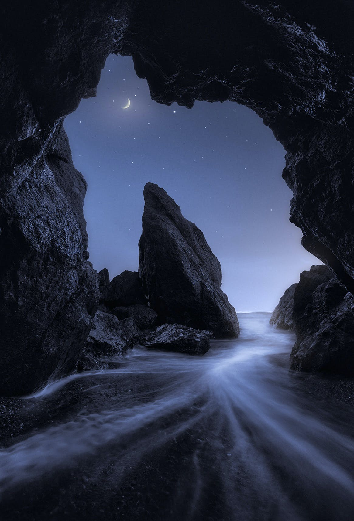 Ruby Beach Cave view of Sea Stacks (night view)