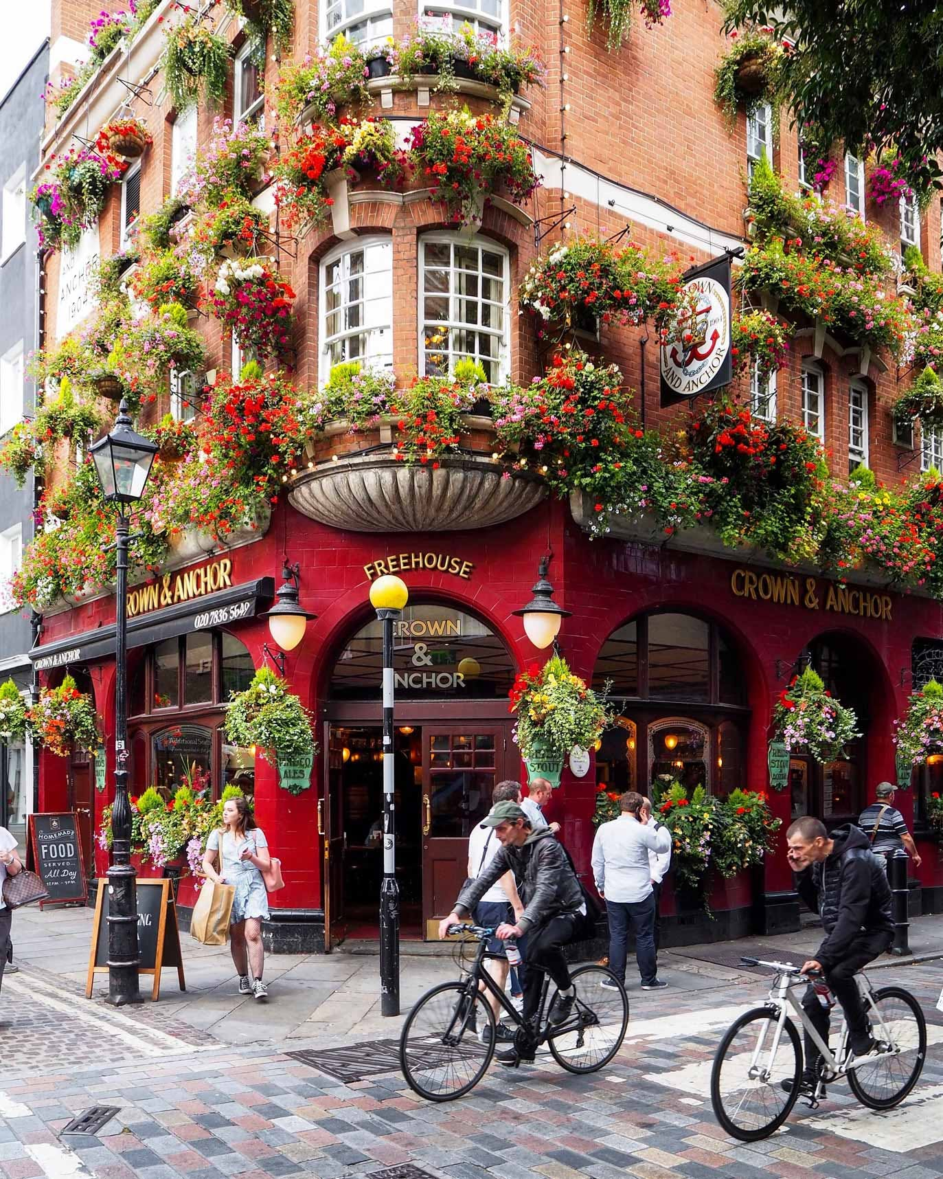 Neal Street view of Crown & Anchor Flower-Covered Façade