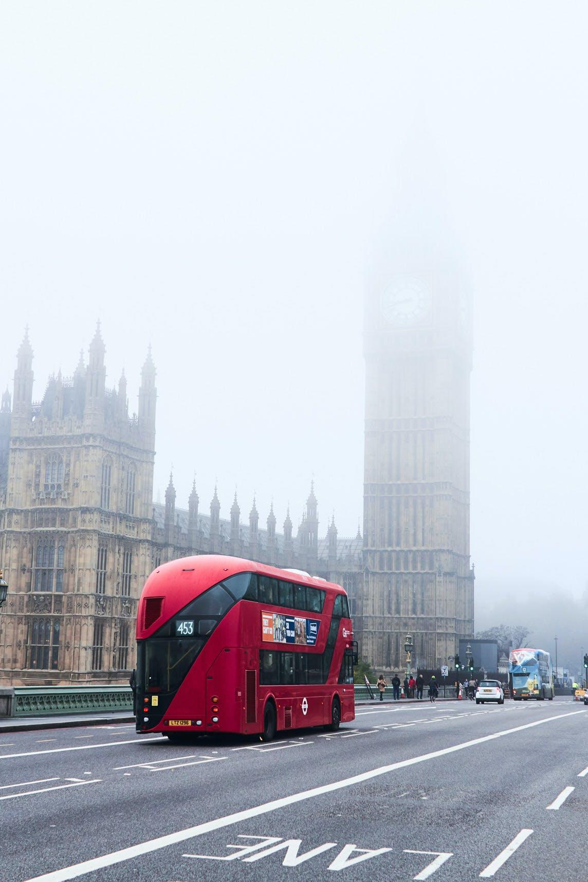 Westminster Bridge view of Big Ben & Double Decker Bus
