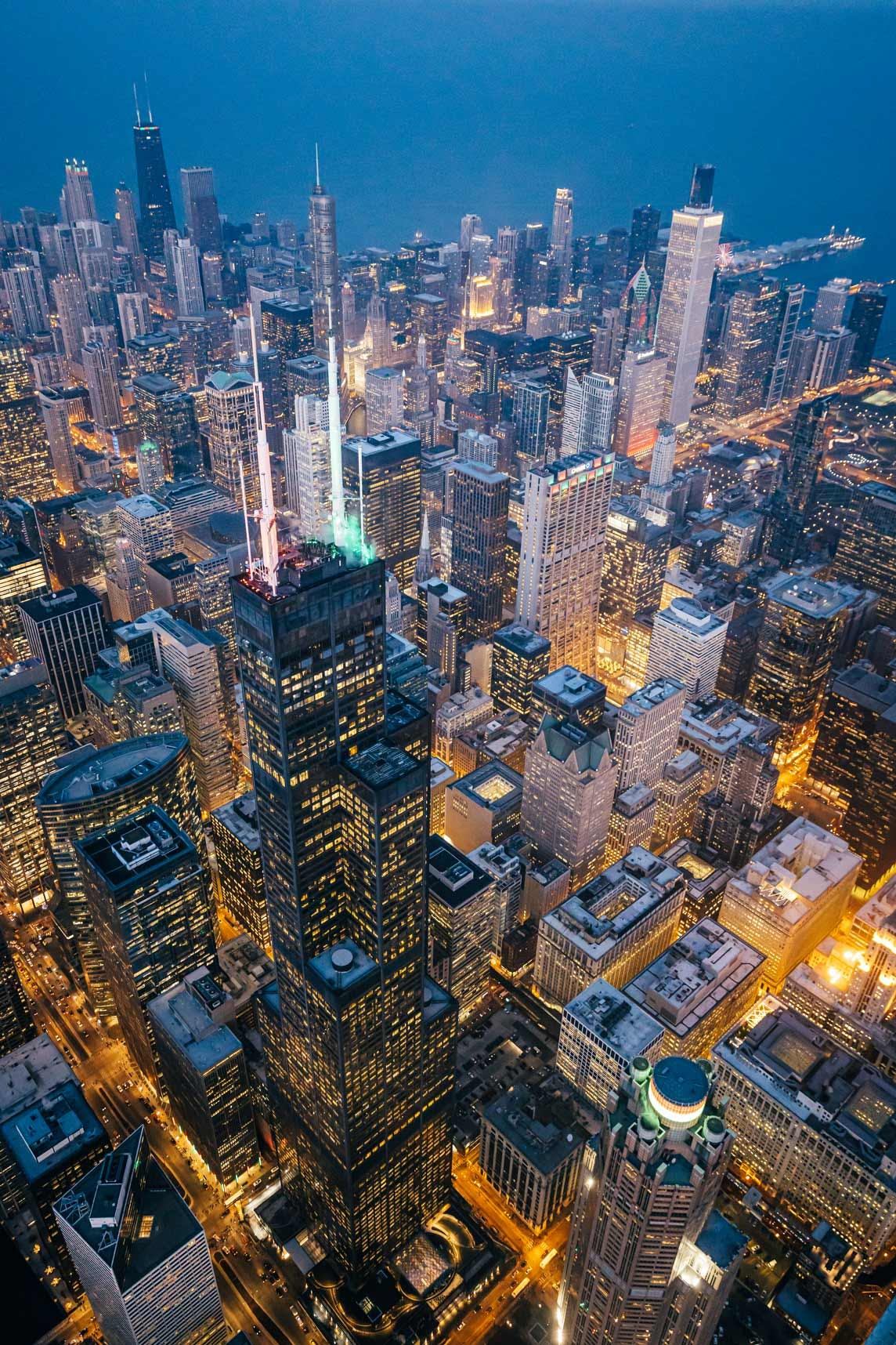 Willis Tower & the Chicago Skyline from Helicopter